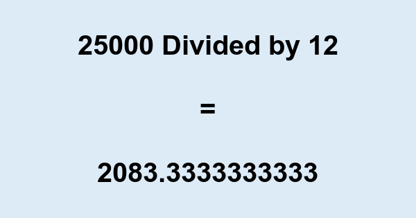 25000 Divided by 12