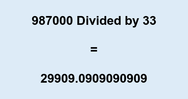 987000 Divided by 33