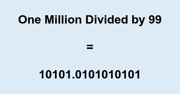 One Million Divided by 99